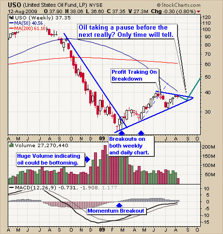 Crude Oil USO ETF Newsletter Trading Chart