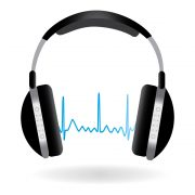 Image of headphones and soundwave isolated on a white background.